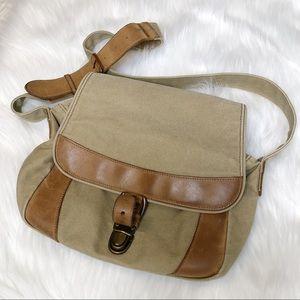 Vintage LL Bean Leather Khaki Canvas Messenger Bag